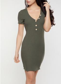 Lettuce Edge V Neck Bodycon Dress - 3410069394217