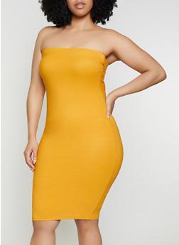 Crepe Knit Tube Midi Dress - 3410069394219