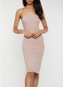 Crepe Knit Tube Midi Dress - 3410069394219
