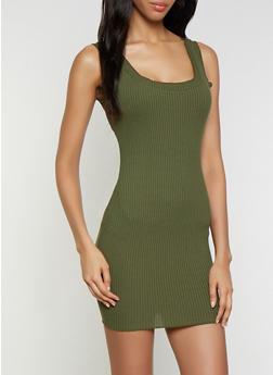 Lettuce Edge Rib Knit Tank Dress - 3410069394220