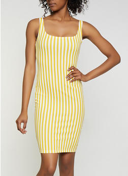 Vertical Stripe Midi Tank Dress - 3410069394228