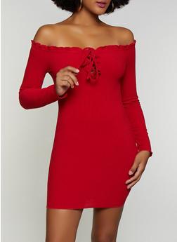 Off the Shoulder Ribbed Dress - 3410069394235
