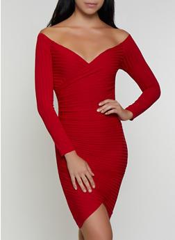 Off the Shoulder Faux Wrap Bodycon Dress - 3410069394236