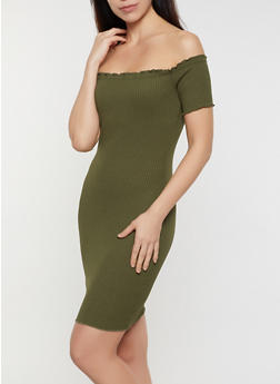 Ribbed Lettuce Edge Off the Shoulder Dress - 3410069394245