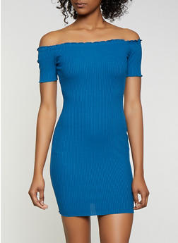 Ribbed Lettuce Edge Off the Shoulder Dress - 3410069394245