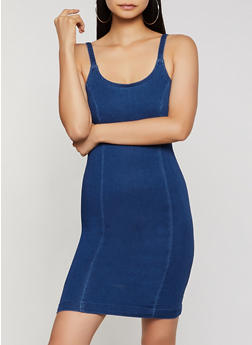 Zip Back Denim Cami Dress - 3410069394250