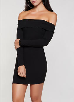 Fold Over Off the Shoulder Dress - 3410069394263