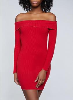 Fold Over Off the Shoulder Dress - 3410069394263