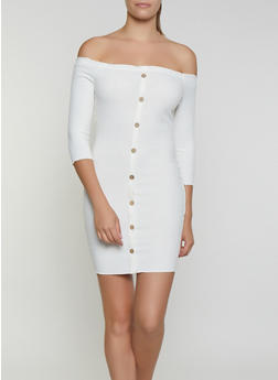 Off the Shoulder Ribbed Bodycon Dress - 3410069394275