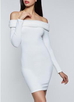 Faux Fur Trim Off the Shoulder Sweater Dress - 3410069394279