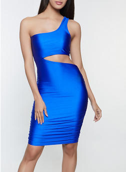 One Shoulder Cut Out Dress - 3410069394295