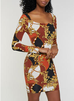 Status Print Bodycon Dress - 3410069394300