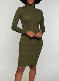 Rib Knit Mock Neck Bodycon Dress - 3410069394306