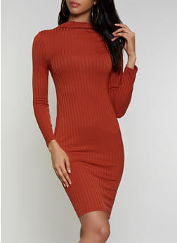 Rib Knit Mock Neck Bodycon Dress - 3410069394306