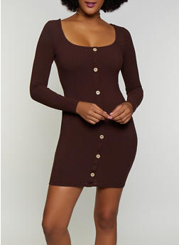 Faux Button Detail Square Neck Bodycon Dress - 3410069394307
