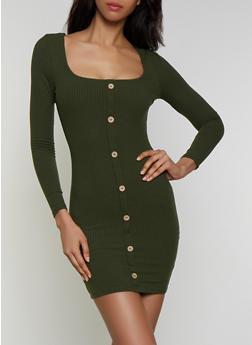 Faux Button Detail Square Neck Bodycon Dress - 3410069394307