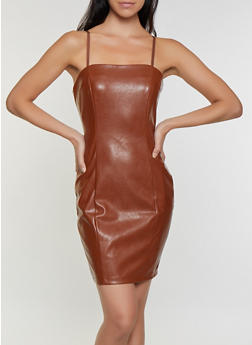 Bodycon Faux Leather Dress - 3410069394309