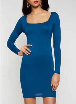 Long Sleeve Square Neck Dress - 3410069394341