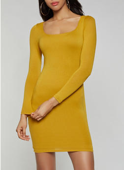 Long Sleeve Square Neck Dress - 3410069394341