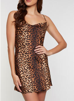 Cheetah Print Slip Dress - 3410069394355
