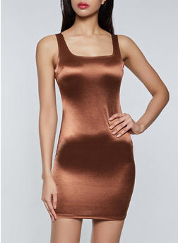 Satin Bodycon Tank Dress - 3410069394377