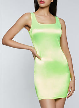 Satin Bodycon Tank Dress - NEON LIME - 3410069394377