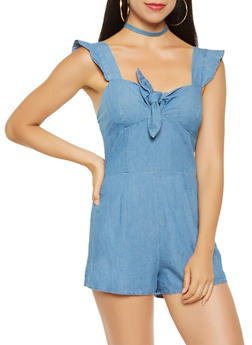 Tie Front Chambray Romper - 3410069395024
