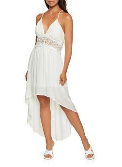 Crochet Detail High Low Dress - 3410069395543