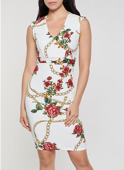Floral Chain Print Sheath Dress - 3410069396479