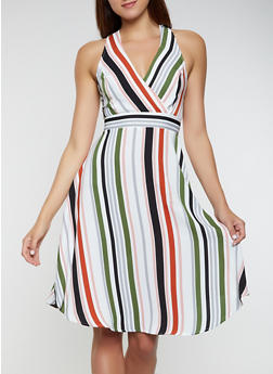 Striped Tie Back Skater Dress - 3410069396861