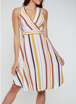 Striped Tie Back Skater Dress - 3410069396861