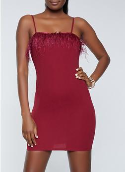 Feather Trim Bodycon Dress - 3410069396868