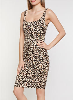Leopard Crepe Knit Tank Dress - 3410069398966