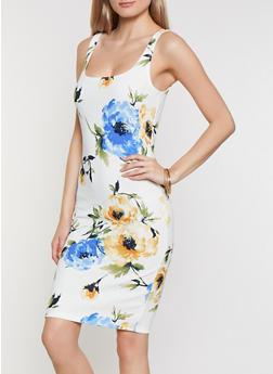 Crepe Knit Floral Tank Dress - 3410069398968