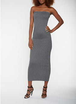 Striped Maxi Tube Dress - 3410072240217