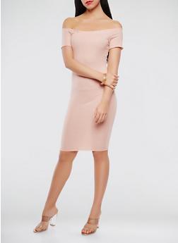 Off the Shoulder Ribbed Knit Dress - 3410072240324