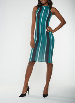 Striped Soft Knit Bodycon Dress - 3410072240334