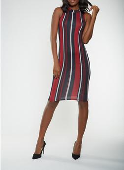 Striped Soft Knit Bodycon Dress - 3410072240334