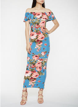 Floral Off the Shoulder Maxi Dress - 3410072240431