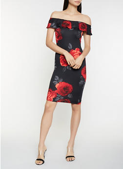 Floral Off the Shoulder Bodycon Dress - 3410072241542