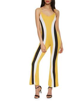 Color Block Flared Jumpsuit - 3410072242178