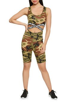 Graphic Elastic Trim Cut Out Camo Catsuit - 3410072242453