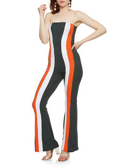 Soft Knit Striped Strapless Jumpsuit - 3410072242458