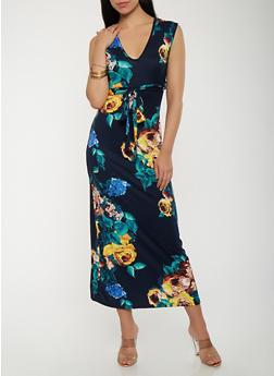 Soft Knit Floral Maxi Dress - 3410072242478