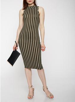 Striped Soft Knit Bodycon Dress - 3410072242504