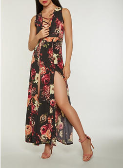 Floral Lace Up Maxi Dress - 3410072242509