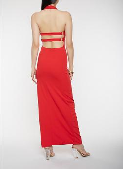 Open Back Halter Neck Maxi Dress - 3410072242543