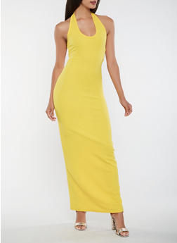 Open Back Halter Neck Maxi Dress - 3410072242543