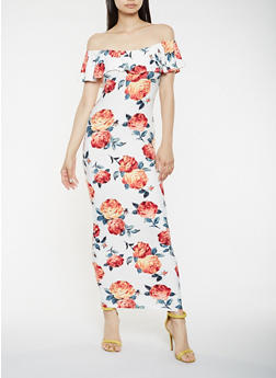 Floral Off the Shoulder Maxi Dress - 3410072242788