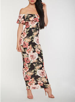 Floral Off the Shoulder Maxi Dress - 3410072242821